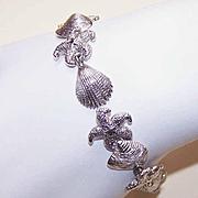 Vintage STERLING SILVER Link Bracelet - Starfish & Clam Shells!