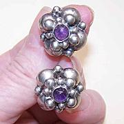 Vintage MEXICAN Sterling Silver & Amethyst Screwback Earrings!