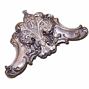 ANTIQUE VICTORIAN Silverplate Buckle - French Fleur de Lis!