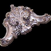 ANTIQUE VICTORIAN Silverplate Buckle - French Fleur de Lis!