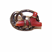 SOLD ANTIQUE VICTORIAN Gold Filled & Coral Pin/Brooch with Heart Decoration!