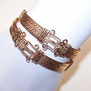 "Hand Made Set of C.1920 Gold Filled ""Hook & Eye"" Bangle Bracelets!"
