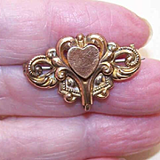 ANTIQUE VICTORIAN Gold Filled Watch Pin/Brooch - Front Heart Design!