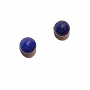 Vintage 14K Gold & 5.5mm Lapis Lazuli Orb Pierced Earrings (Studs)!