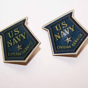 Pair World War II Celluloid US NAVY Civilian Service Pins!