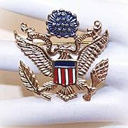 Vintage STERLING SILVER Vermeil & Enamel Patriotic Pin/Brooch - American Eagle!