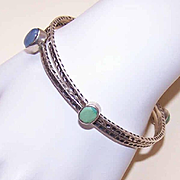 Pair Vintage STERLING SILVER & Semi-Precious Stone Bangle Bracelets!