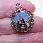 Religious ANTIQUE VICTORIAN French 800/900 Silver & Eglomise Locket Pendant - Virgin Mary!