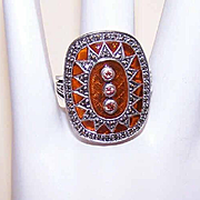 Vintage STERLING SILVER, Marcasite, Brown Citrine & Plique a Jour Fashion Ring!
