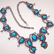 Vintage NAVAJO Sterling Silver & Turquoise Squash Blossom Necklace!