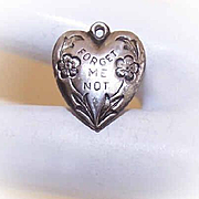 Vintage STERLING SILVER Puffy Heart Charm - Forget Me Not!