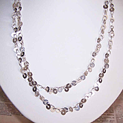 """Vintage STERLING SILVER 36"""" Chain Necklace - Sequin-Like Discs!"""