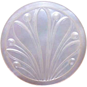 ANTIQUE VICTORIAN Mother of Pearl Button - Carved Lotus Blossom!