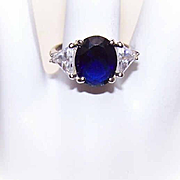 Vintage STERLING SILVER & Cubic Zirconia Fashion Ring!