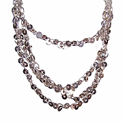 """Vintage STERLING SILVER 54"""" Chain Necklace - Sequin-Like Discs!"""