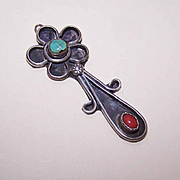 Vintage STERLING SILVER, Red Coral & Turquoise Pendant - Native American/Southwestern Design!