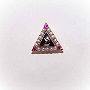Vintage 10K Gold, Natural Pearl & Ruby DELTA SIGMA Pin!