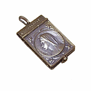 C.1920 Religious FRENCH Book Locket Pendant with Pictures - Virgin Mary Front/Lourdes Back!