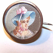 Sweet ANTIQUE EDWARDIAN Hand Painted Portrait Miniature of a Lady Set into a Brooch/Pin!