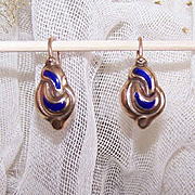 ANTIQUE VICTORIAN 9K Gold & Blue Enamel Pierced Earrings!