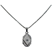 ANTIQUE VICTORIAN 14K Gold & Diamond Locket Pendant - Lovingly Engraved!