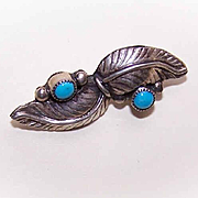 Vintage Native American/Southwest Indian STERLING SILVER & Turquoise Pin/Brooch!