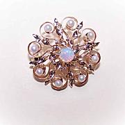 ANTIQUE EDWARDIAN 14K Gold, Natural Pearl & Opal Pin/Pendant Combo!