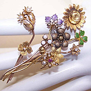 """Awesome ANTIQUE VICTORIAN 14K Gold, Diamond, Pearl & Enamel """"Stick Pin"""" Brooch!"""