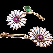 SALE Pair of VINTAGE European 18K Gold, Ruby, Diamond & Enamel Floral Pins/Brooches!