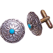 Vintage Native American/Southwest STERLING SILVER & Turquoise Cufflinks/Cuff Links!