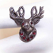 "Vintage STERLING SILVER & Garnet ""Brotherhood of Elks"" Member Pin!"