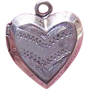 Vintage STERLING SILVER Heart Charm or Small Locket - Delicately Engraved!