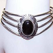 Vintage STERLING SILVER & Black Onyx Cuff Bracelet!