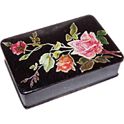 ANTIQUE VICTORIAN Paper Mache Stamp Box - Black with Pink Roses!