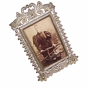 Fabulous VICTORIAN ENGLISH Silverplate Miniature Frame with Easel!