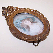 Vintage GILT BRASS Metal Frame with Fleur de Lis & Duchess of Devonshire Print!