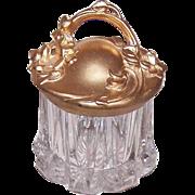 ART NOUVEAU Pressed Glass Powder Jar with Gilt Metal Handled Lid!
