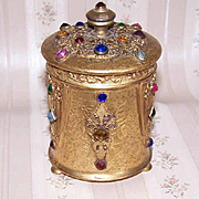 ART DECO Gilt Metal & Jeweled Filigree Dresser Container by Apollo Studios!