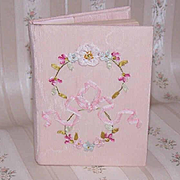 C.1910 ENGLISH Papier Poudre (Face Powder) Book with Silk Ribbon Rose Cover!