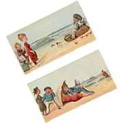 Pair ANTIQUE VICTORIAN Trade Cards - At the Seashore!