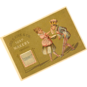 ANTIQUE VICTORIAN Advertising Trade Card for Coronet Soap - Graphics of a King & Maid!