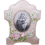 Dated 1943 FRENCH Hand Painted/Embroidered Souvenir of First Communion!