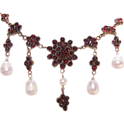 ANTIQUE VICTORIAN Bohemian Garnet Necklace with Cultured Pearl Drops!
