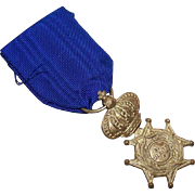"Vintage ITALIAN Gold Tone Medal with Blue Ribbon - ""For Merit""!"