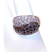 Stunning STERLING SILVER and Black/White Cubic Zirconia Fashion Ring!