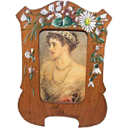 C.1900 FRENCH Souvenir of Nice - Painted Olive Wood Picture Frame!