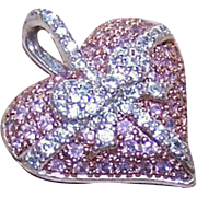 Stunning STERLING SILVER and Pink/White Cubic Zirconia Heart Pendant!