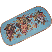 ANTIQUE VICTORIAN Beaded Panel on Wooden Plateau - Grapes!