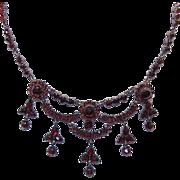 Antique 9K Rose Gold & VICTORIAN BOHEMIAN Garnet Festoon Necklace!