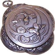 Art Nouveau FRENCH SILVERPLATE Powder Compact Pendant with Mirror!
